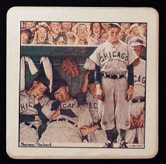 Norman Rockwell The Dugout Baseball Stone Coaster Set<br>ONLY 5 SETS LEFT!