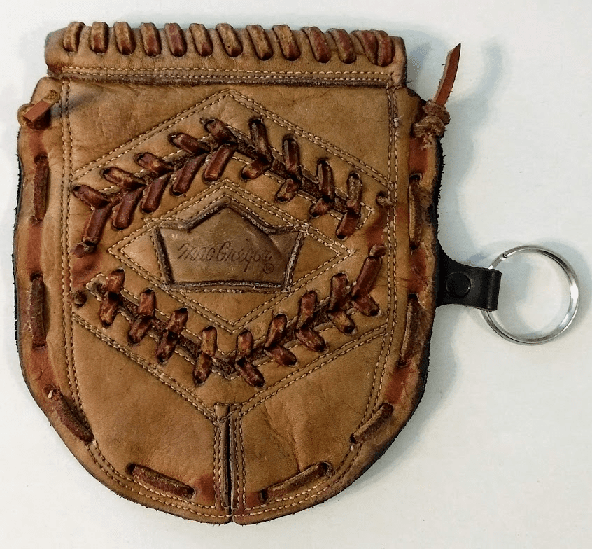 One-Of-A-Kind MacGregor Baseball Glove Webbing Business Card Holder / Wallet with Key Chain by Lucky Savage