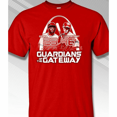 Guardians of the Gateway Ozuna and Goldschmidt St. Louis T-Shirt<br>Short or Long Sleeve<br>Youth Med to Adult 4X