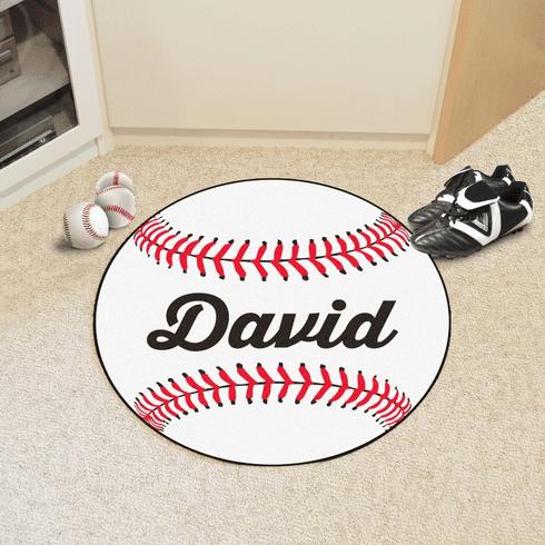 "Personalized 27"" Round Baseball Rug"