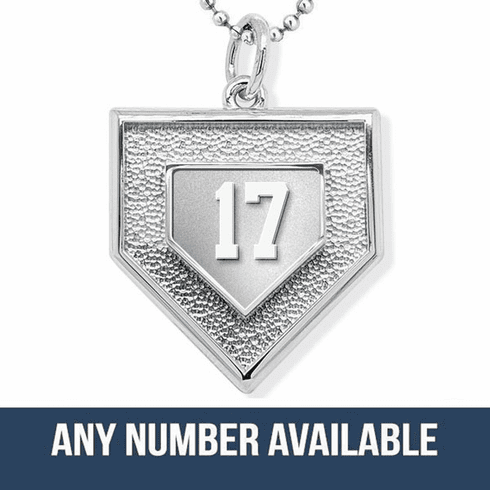 "Personalized 3D Baseball Home Plate Stainless Steel Pendant with Number and 20"" Chain"