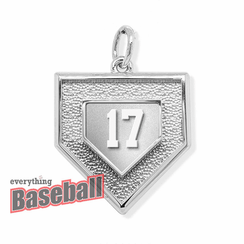 Personalized 3D Baseball Home Plate with Number Sterling Silver Pendant