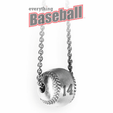 "Sterling Silver 3D Baseball with Number 18"" Necklace"