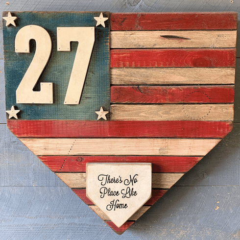 Personalized Baseball Number USA Flag Home Plate Shaped Rustic Sign