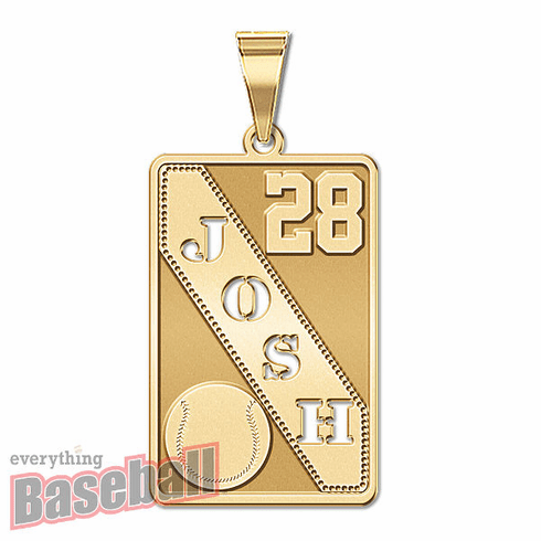 Personalized Baseball Pendant with Cut-Out Name & Number<br>GOLD or SILVER