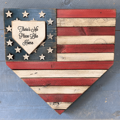 Personalized Baseball USA Flag Home Plate Shaped Rustic Sign