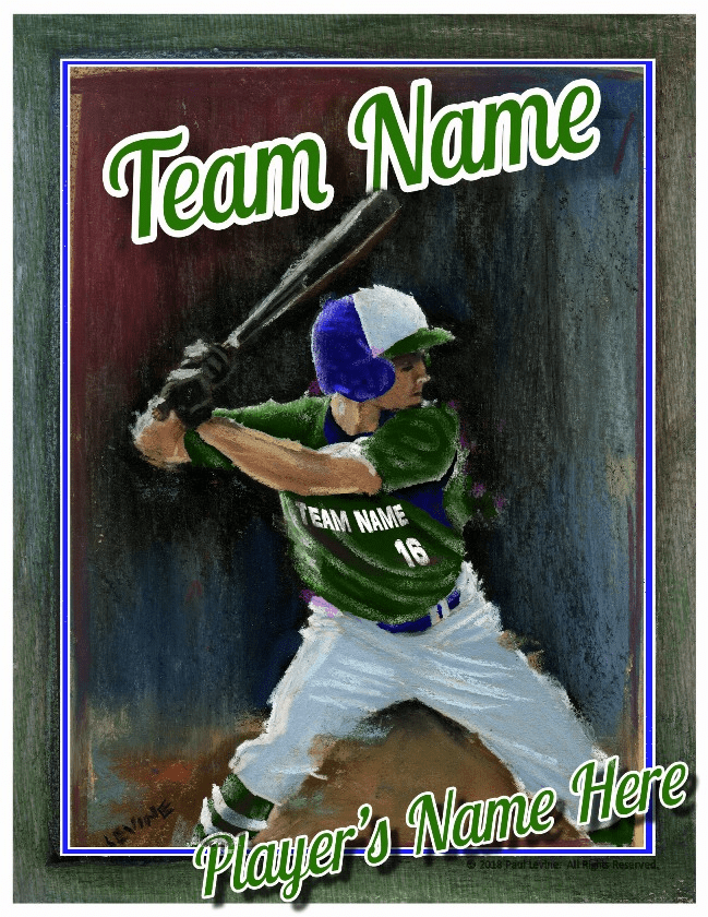 Personalized Custom Baseball Player Art - Batter