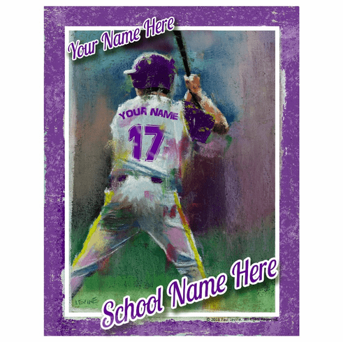 Personalized Custom Baseball Player Art - Batting Stance
