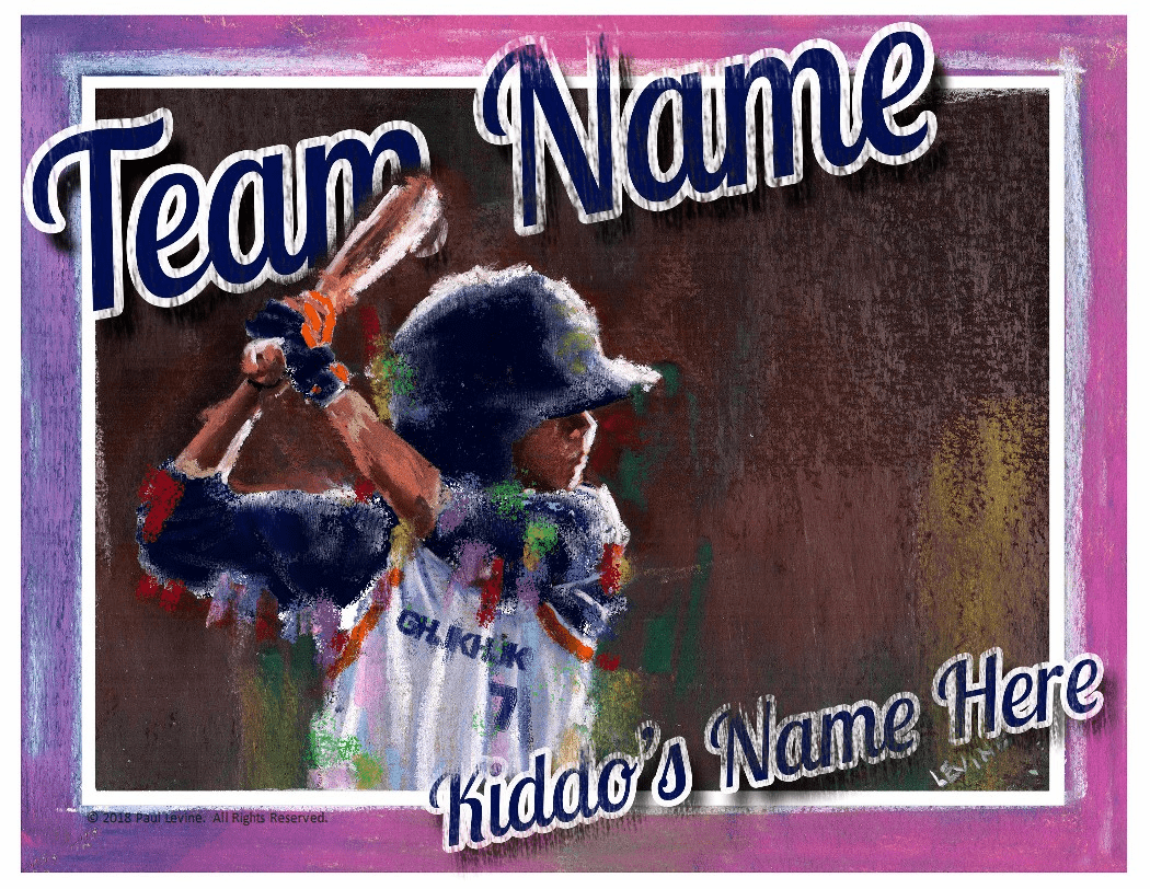 Personalized Custom Baseball Player Art - Boy Batter