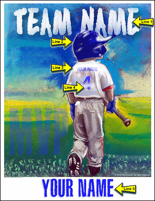 Personalized Custom Baseball Player Art - Baseball Boy MVP