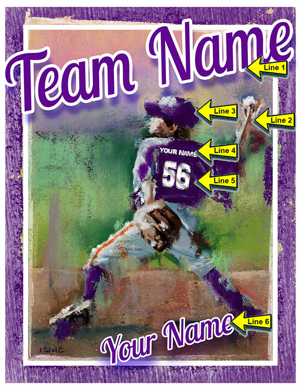 Personalized Custom Baseball Player Art - Boy Pitching
