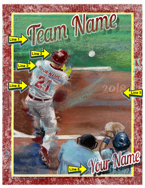Personalized Custom Baseball Player Art - Home Run Swing