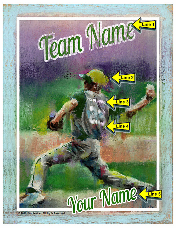 Personalized Custom Baseball Player Art - Pitcher