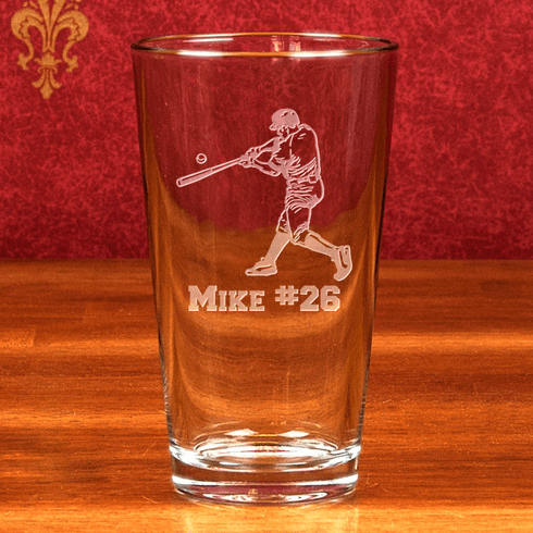 Personalized Etched Baseball Lefty Batter 16oz Mixing Glass