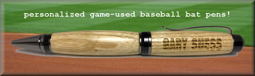 Personalized Game Used Wood Baseball Bat Pen with Case on