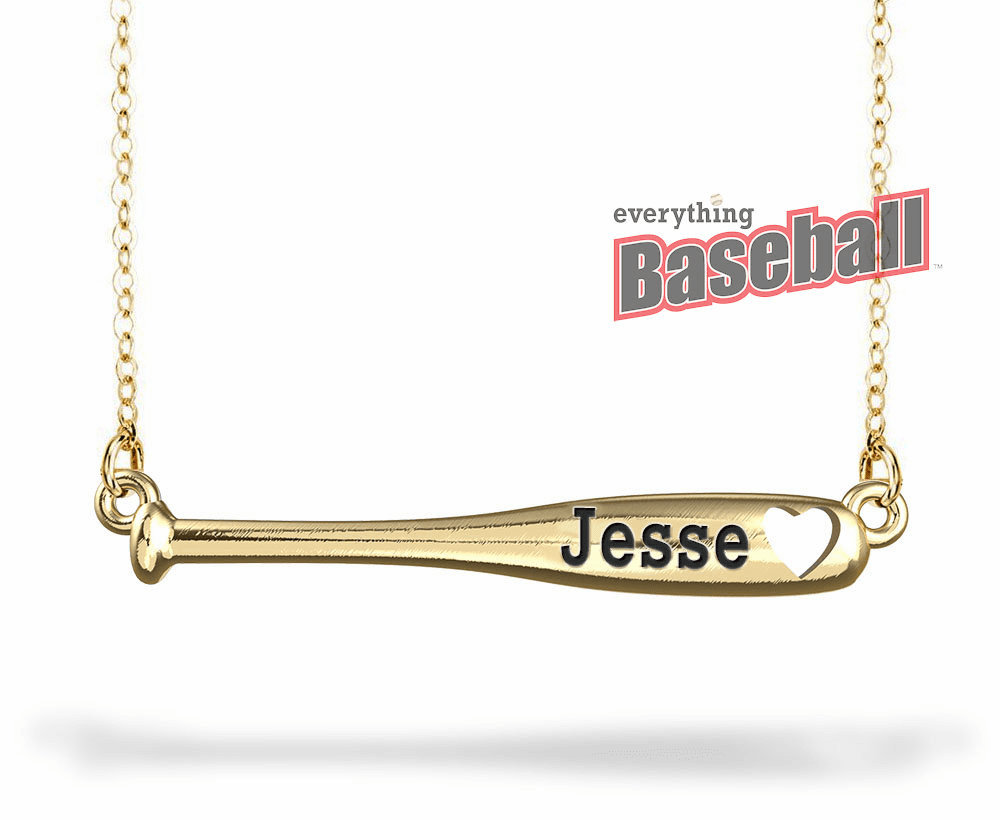 "Personalized Horizontal Baseball Bat Name Bar with 18"" Chain<br>GOLD or SILVER"