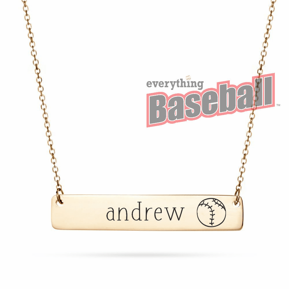 "Personalized Horizontal Baseball Name Bar with 18"" Chain<br>GOLD or SILVER"