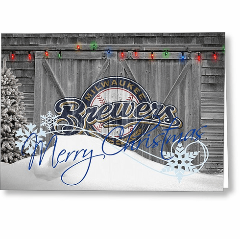 Personalized Milwaukee Brewers Christmas and Holiday Cards<br>5 DESIGNS!