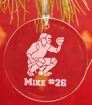 Personalized Round Crystal Baseball Ornament<br>4 OPTIONS!
