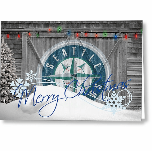 Personalized Seattle Mariners Christmas and Holiday Cards<br>5 DESIGNS!