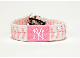 Pink New York Yankees Baseball Seam Bracelet