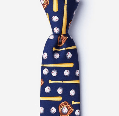 Play Ball Baseball Navy Blue Men's Silk Skinny Tie<br>ONLY 1 LEFT!