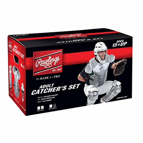 WEEKLY SPECIAL #18<br>Rawlings Adult Baseball Catcher Set Velo Silver and White<br>LESS THAN 3 LEFT!