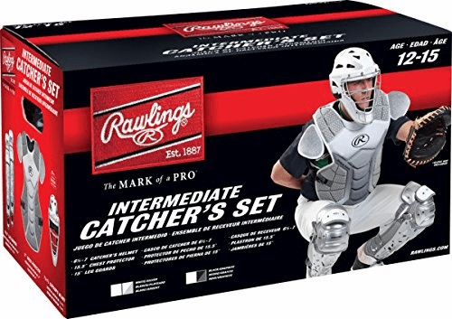 Rawlings Intermediate Baseball Catcher Set Velo Silver and White<br>LESS THAN 4 LEFT!