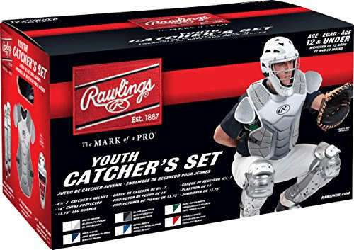 Rawlings Youth Baseball Catcher Set Velo Silver and White<br>LESS THAN 6 LEFT!
