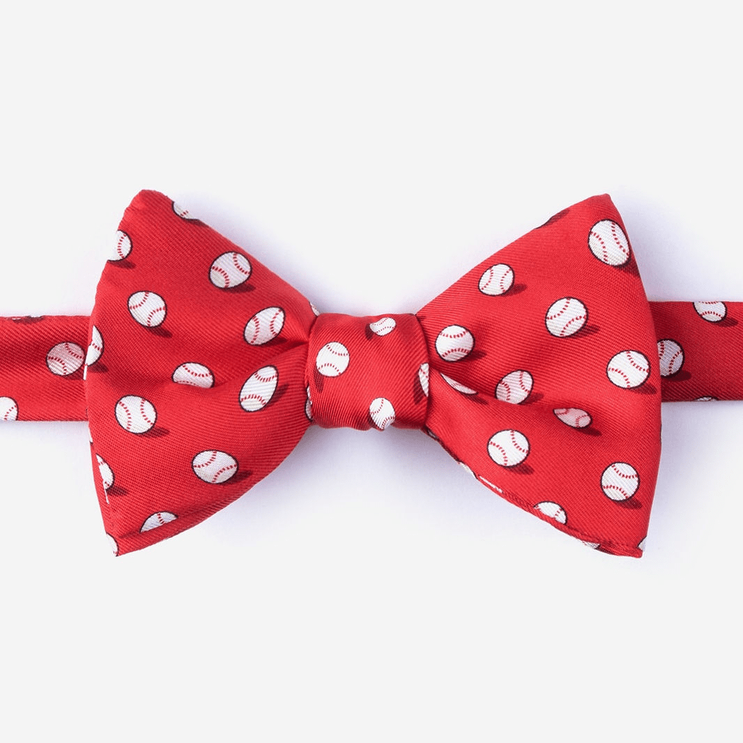 Red No Hitter Baseball Men's Silk Bow Tie<br>ONLY 4 LEFT!
