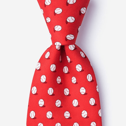 Red No Hitter Baseball Men's Silk Tie<br>ONLY 6 LEFT!