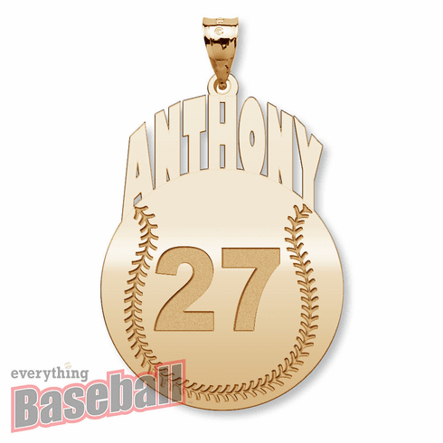 Round Baseball with Name & Number Pendant<br>GOLD or SILVER