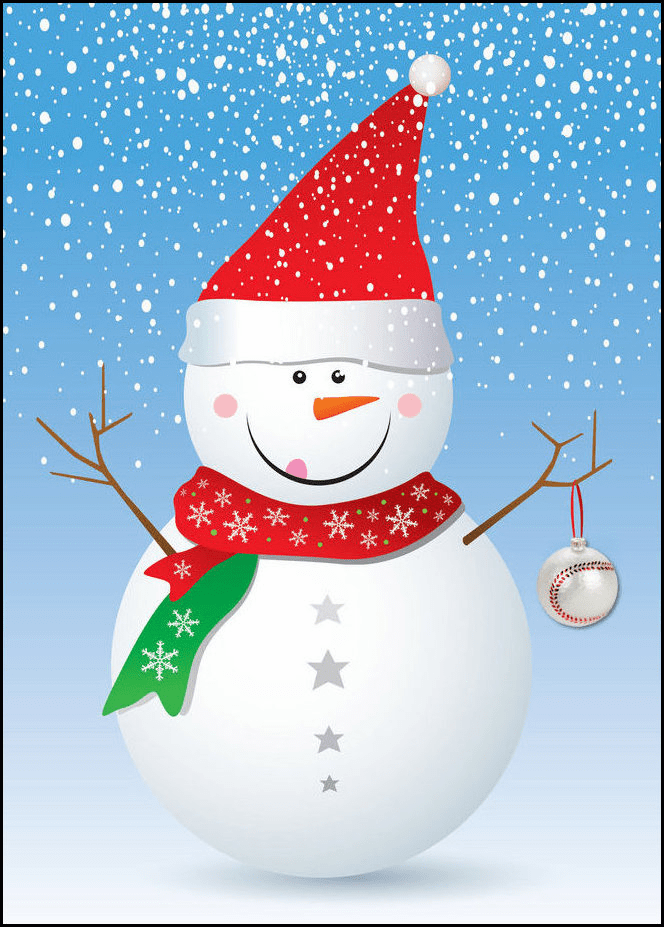 Personalized Snowman with Baseball Ornament Holiday Cards<br>5 PACK MINIMUM!