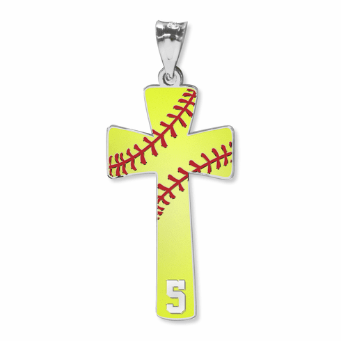 Softball Cross Pendant with Number<br>GOLD or SILVER
