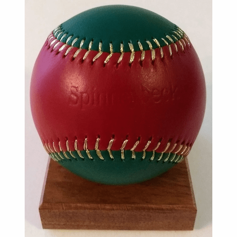 Spinneybeck Red and Green Leather Baseball<br>RETIRED DESIGN<br>ONLY 1 LEFT!