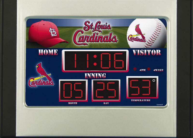 St. Louis Cardinals Baseball Scoreboard Desk Alarm Clock