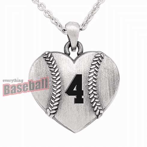 """Sterling Silver Heart Shaped Baseball with Number 18"""" Necklace"""