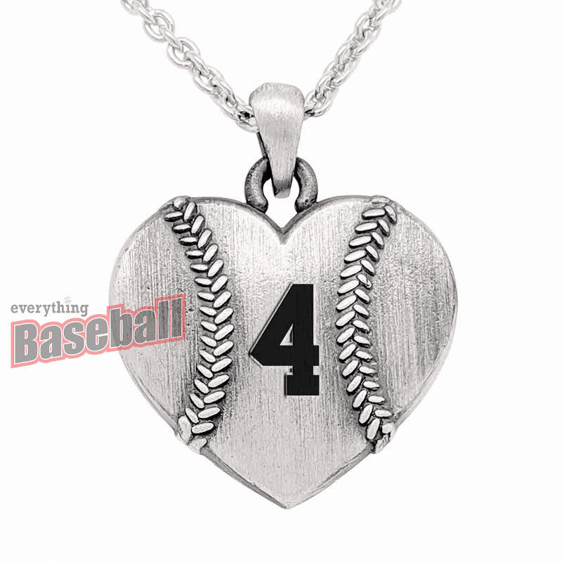 "Sterling Silver Heart Shaped Baseball with Number 18"" Necklace"
