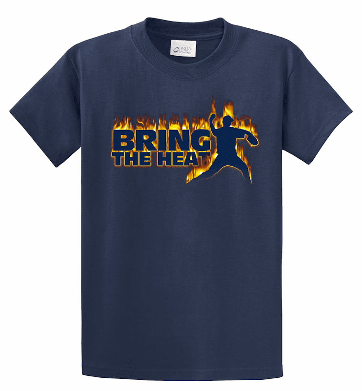 T-SHIRT SPECIAL<br>Bring the Heat Baseball Pitcher T-Shirt<br>ONLY 1 RED ADULT XL LEFT!