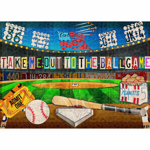 AFTER CHRISTMAS SALE!<br>Take Me Out to the Ballgame Recycled Vintage License Plates Limited Edition 1000 Piece Puzzle<br>ONLY 4 LEFT!