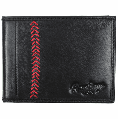 Vintage Black Leather Baseball Stitch Bifold Wallet by Rawlings<br>ONLY 3 LEFT!