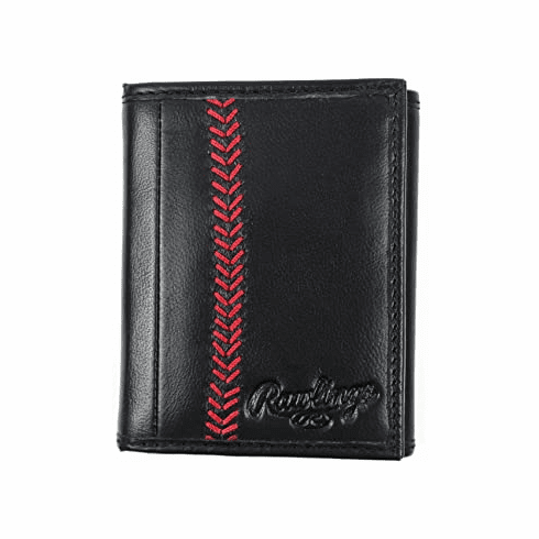Vintage Black Leather Baseball Stitch Trifold Wallet by Rawlings<br>ONLY 2 LEFT!
