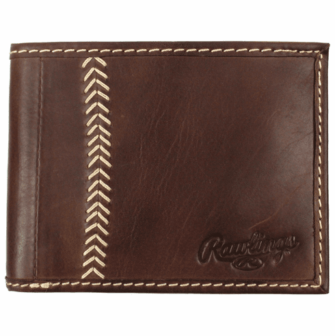 Vintage Brown Leather Baseball Stitch Bifold Wallet by Rawlings<br>ONLY 2 LEFT!