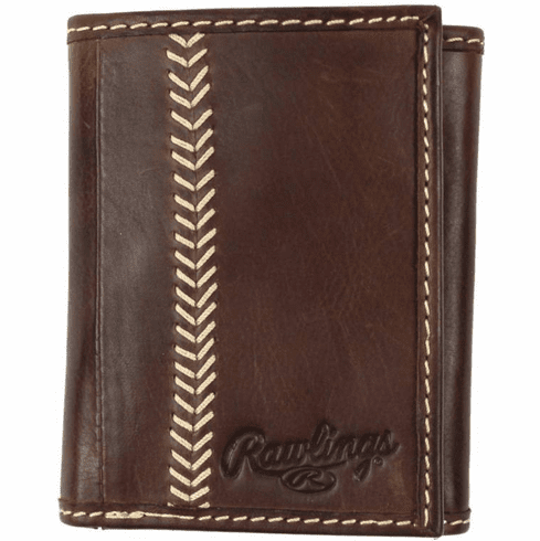 Vintage Brown Leather Baseball Stitch Trifold Wallet by Rawlings<br>ONLY 2 LEFT!