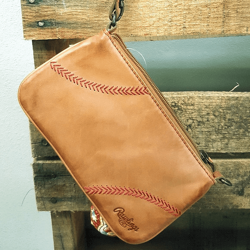Vintage Tan Leather Baseball Stitch Wristlet by Rawlings<br>RETIRED DESIGN!<br>LESS THAN 10 LEFT!