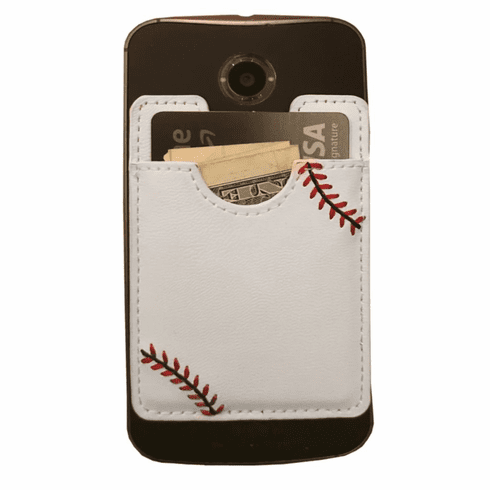 White Baseball Stick On Cell Phone Wallet