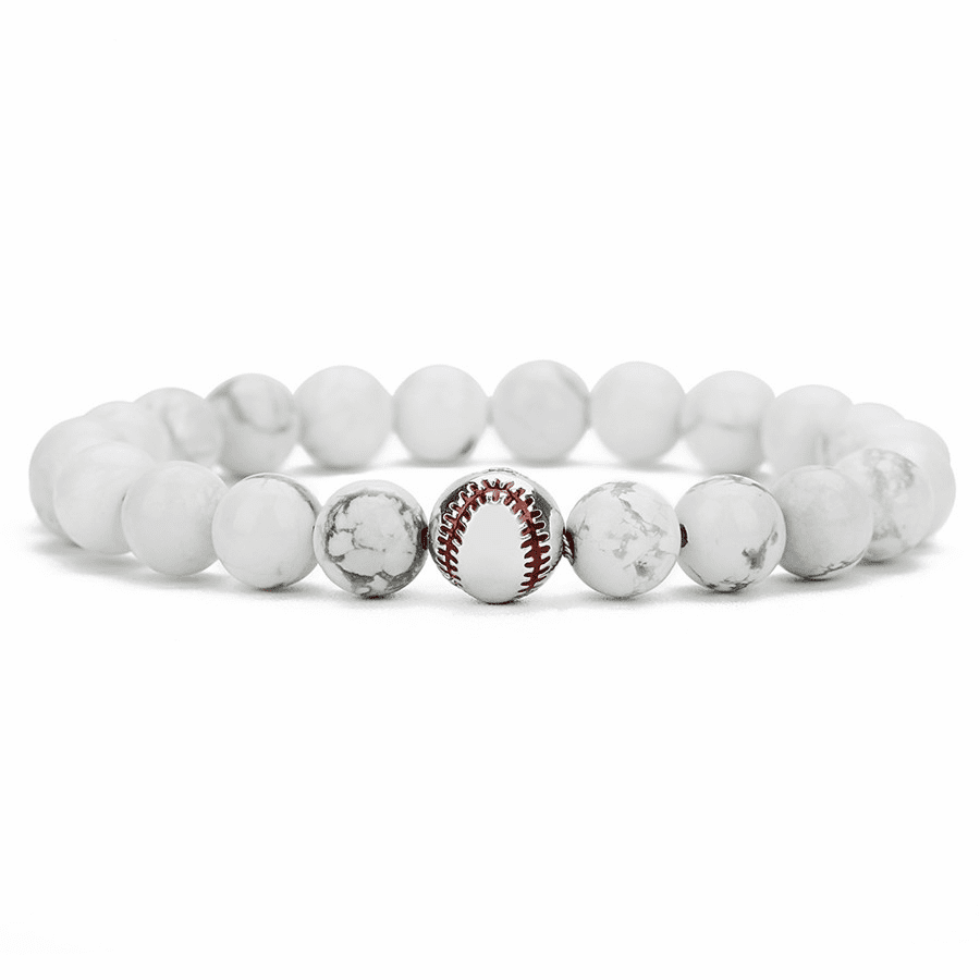 White Lava Stretchy Baseball Bracelet