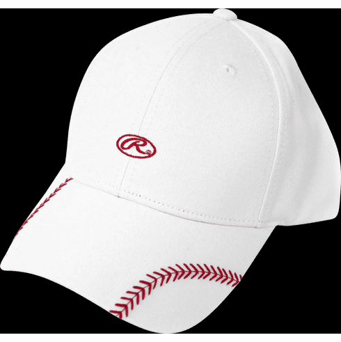 Women's Change Up White Baseball Stitch Hat by Rawlings<br>ONLY 2 LEFT!