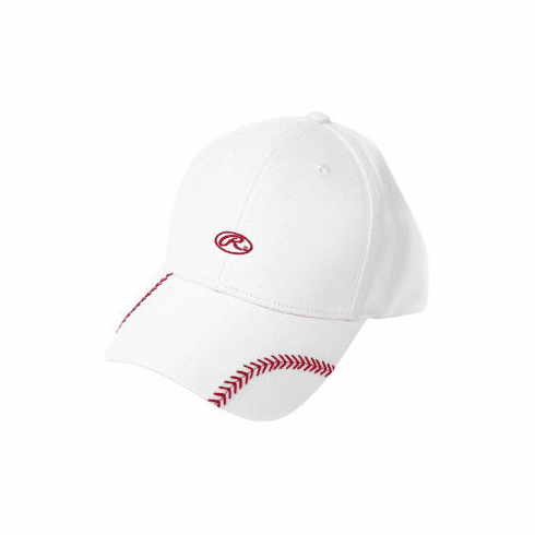 Women's Change Up White Baseball Stitch Hat by Rawlings<br>ONLY 4 LEFT!