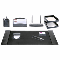 10 Piece Crocodile Embossed Leather Desk Set